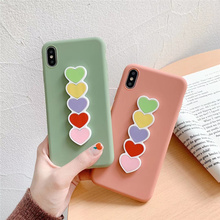 Love heart print bracket women case for iphone6 6s 7plus xs max pink scrub silicon soft cover iphone 6 s 8 7 plus x xr xsmax