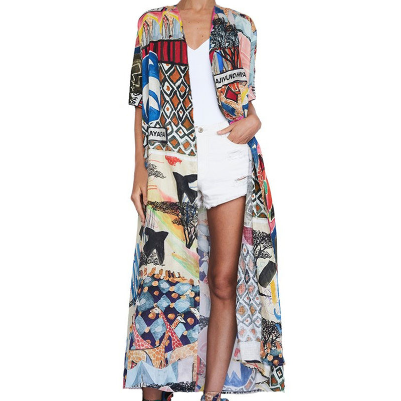 HTB1lgWOQ9zqK1RjSZFpq6ykSXXai - Bohemian Printed Half Sleeve Summer Beach Wear Long Kimono Cardigan Cotton Tunic Women Tops Blouse Shirt Sarong plage N796