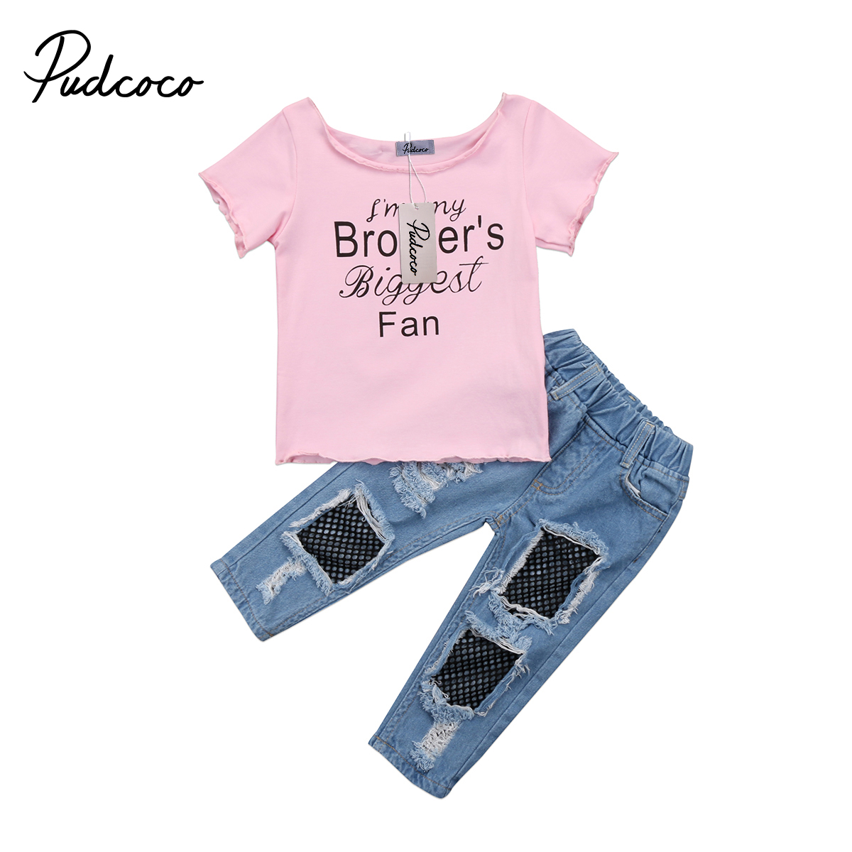 Kids Toddler Baby Girl Clothing <font><b>Brother</b></font> Shirt Letter Print Tops+Fish Net <font><b>Jeans</b></font> Long Pant 2pcs Outfits Set Clothes