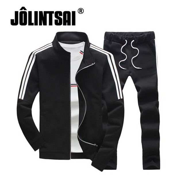 Jolintsai 2017 Men Striped Hoodies +Joggers Sweatshirt Pant Set Mens Sporting Suit Plus Size Sweatsuits 5XL Tracksuit