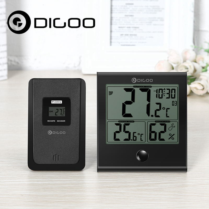 Digoo DG-TH1180 Home Comfort Indoor and Outdoor Sensor Glass Panel Thermometer Hygrometer Temperature Humidity Digital Monitor digoo dg th1130 home comfort security digital lcd indoor thermometer hygrometer temperature humidity meter monitor