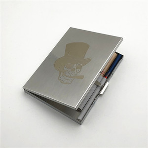 Alalinong Smoking Skull Stainless Steel Cigarette Case Ultra Thin Metal Universal Cigarette Box Wire Drawing Process Smoking Box