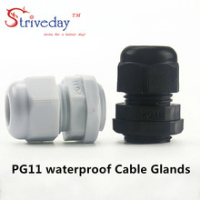 10pcs/lot White Black PG11 Nylon cable gland Wiring Accessories LED connector waterproof Gland