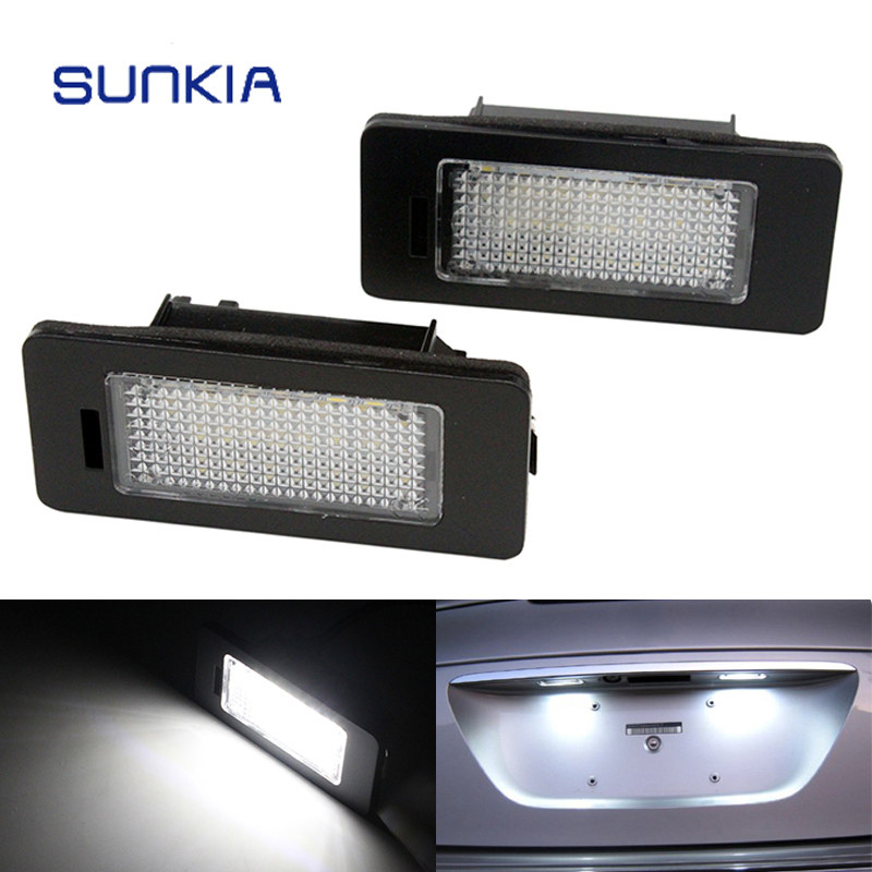 2Pcs/Set SUNKIA LED Number License Plate Lights For Skoda Fabia Superb Yeti 24SMD LED White Color No Error Warming Free Shipping direct fit for kia sportage 11 15 led number license plate light lamps 18 smd high quality canbus no error car lights lamp