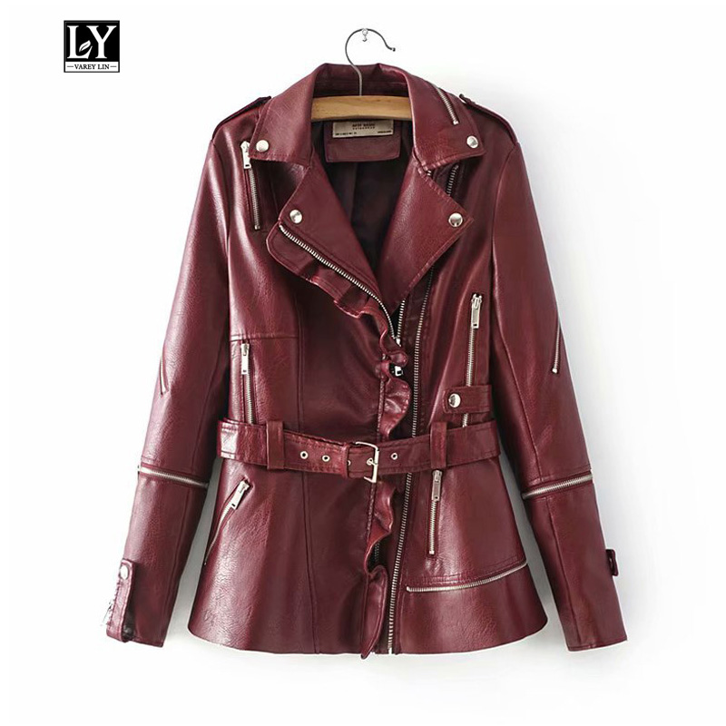 Ly Varey Lin Women Pu Motorcycle Faux Soft   Leather   Zipper Jacket Coat Turn-down Collar Autumn Punk Epaulet   Leather   Outerwear