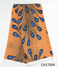 Hot selling Chiffon materian African Wax Nigerian Design Fabric 5 yards/lot popular bright color for dress CH17004