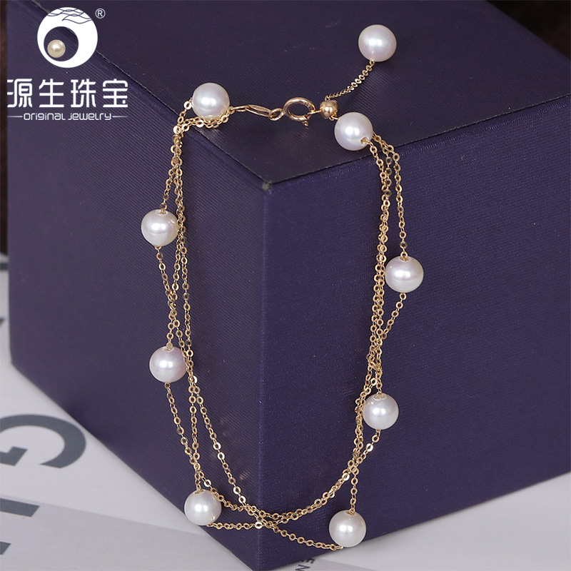 YS Triple Row 18K Solid Gold Bracelet 5-6mm Natural Cultured Chinese Freshwater Pearl Fine Jewelry For Wedding