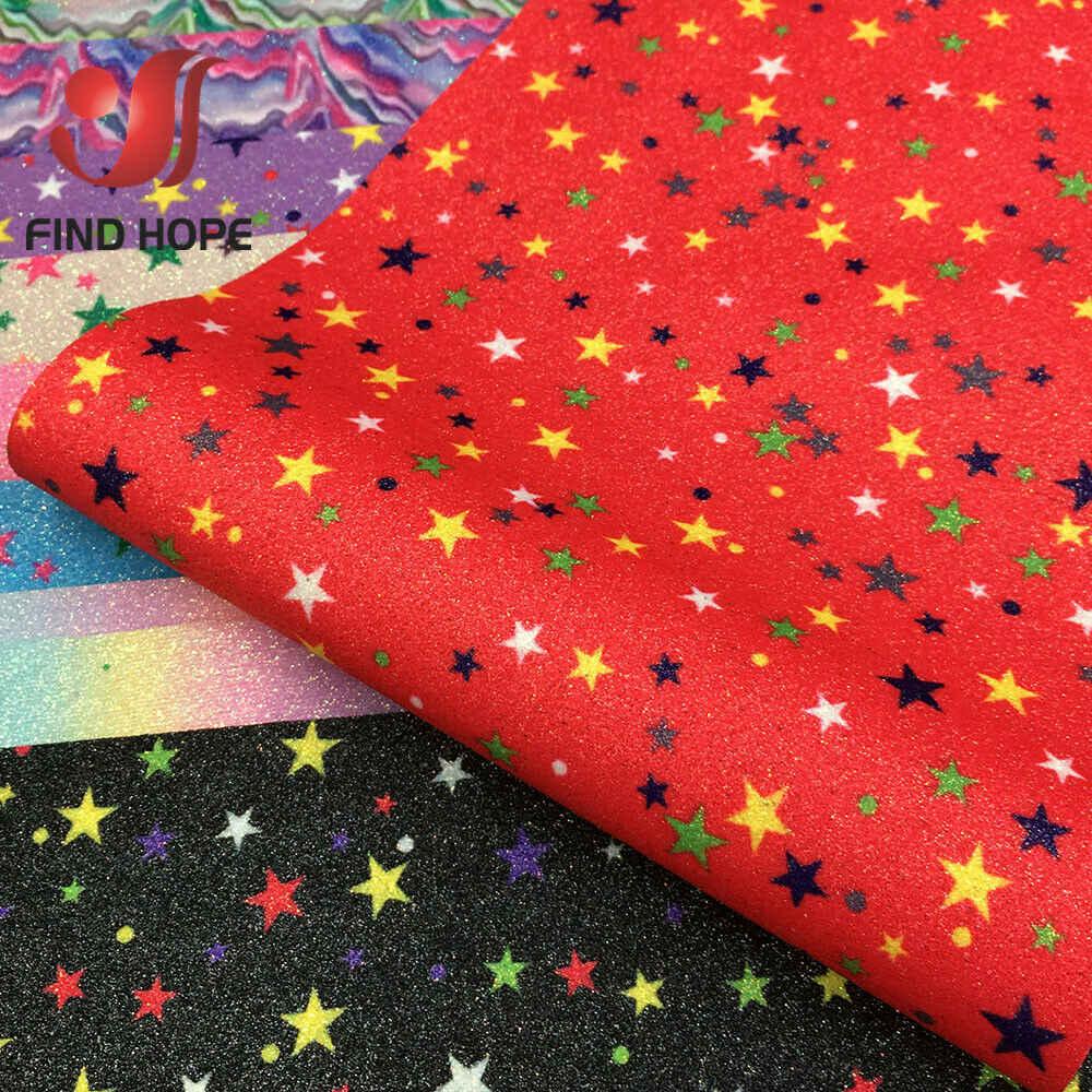 A4 Lấp Lánh Rainbow Ngôi Sao Mỹ Long Lanh Họa Tiết Da Vải Giả Da Cung Thủ Công Tự Làm Chất Liệu