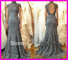 Refind Grey High Neck Lace Backless Mermaid Evening Prom Dress Dresses W1495 цены