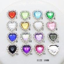 New 10pcs set 16mm Heart Colorful Diamond Button Flatback Buttons Crystal  for Wedding Bouquet Child 11b48d44d8a3