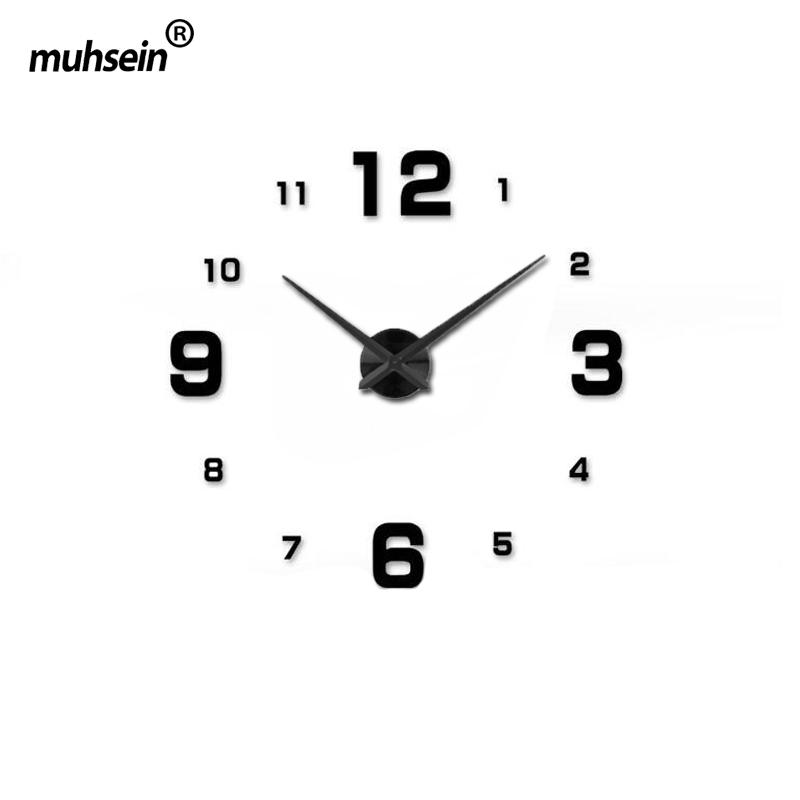 negro completo reloj de pared moderno designhome gran espejo d diy grande relojes