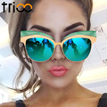 TRIOO Coating Mirror Sunglasses For Women Gold Cat  Eye Shades High Fashion Oculos feminino New Cool Designer Female Sun Glasses