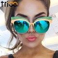 Trioo recubrimiento gafas de sol de espejo de oro para las mujeres cat eye shades oculos feminino new fresco del diseñador de alta moda femenina gafas de sol