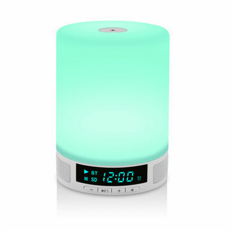 Wireless Bluetooth Speaker Music Sound Box With Alarm Clock Function Touch LED Table Lamp Support Hands-free Call TF Card Slot купить в Москве 2019