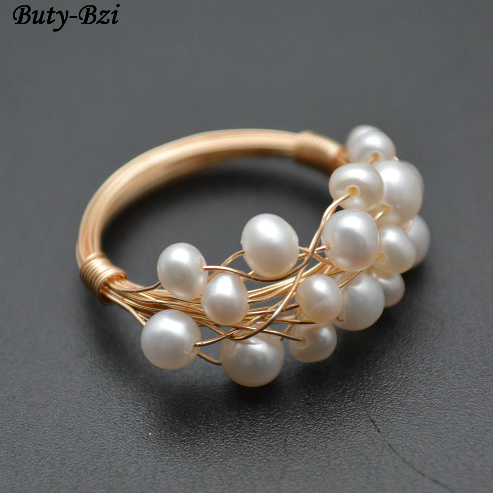 you can get any size and gold or silver wire! beaded pearl ring