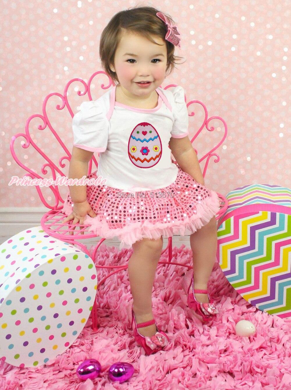 ⊹Huevo de Pascua blanco bodysuit Pink Bling sparkle sequin falda ...
