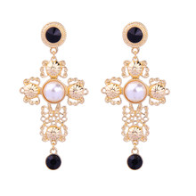 Acrylic Pearl Filigree Big Cross Earrings for Women Classic Indian Fashion Statement Earrings Costume Jewelry(China)