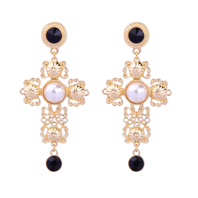 610f1b2ebdca Acrylic Pearl Filigree Big Cross Earrings for Women Classic Indian Fashion  Statement Earrings Costume Jewelry