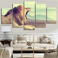 สิงโตรูปแบบภาพวาดผ้าใบ5ชุดแผงผนังรูปภาพUnframe 5ชิ้นผ้าใบศิลปะแอฟริกันตกแต่งสำหรับห้องนั่ง