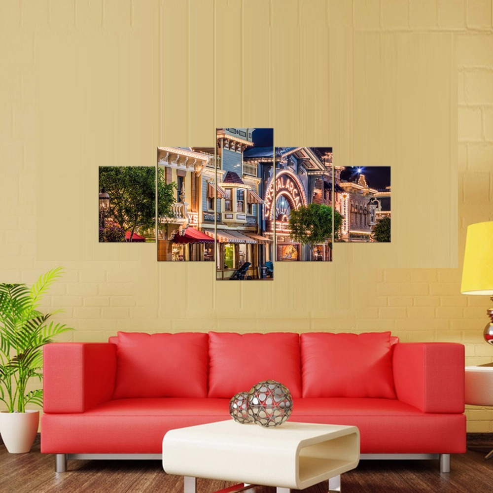Hot Sales Framed 5 Panels Picture Bustling street view HD Canvas ...