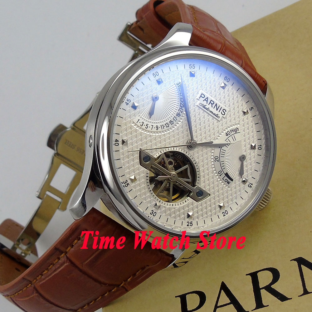 43mm PARNIS men's watch White dial power reserve date deployant clasp ST2505 Automatic movement 413 PARNIS BOX цена и фото