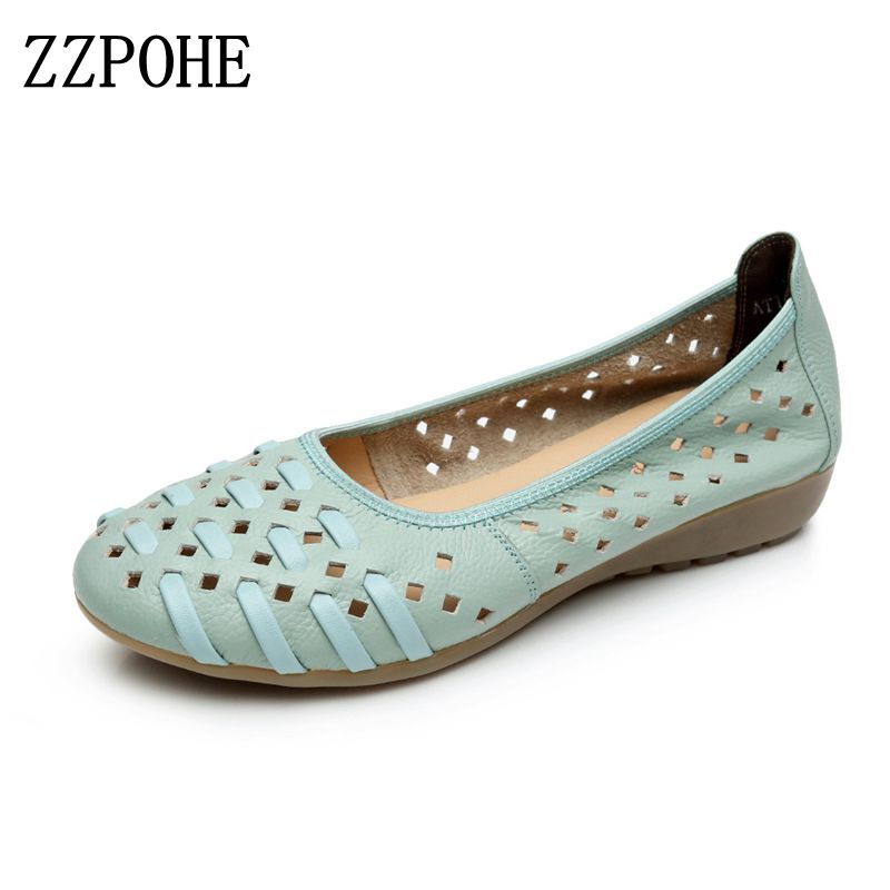 ZZPOHE Summer Women Shoes Woman Fashion Genuine Leather Flat Sandals Woman Casual Comfortable Soft Sandals women's wedges shoes 32 43 big size summer woman platform sandals fashion women soft leather casual silver gold gladiator wedges women shoes h19