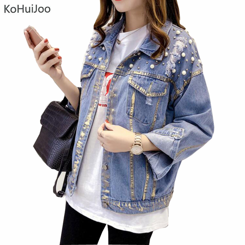 KoHuijoo Spring 2019 Women Ripped Denim   Jacket   Fashion Pearls Beading Long Sleeve Jeans Coats Vintage Loose Korean   Basic     Jacket