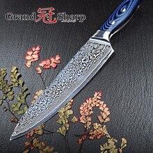 Grandsharp 67 слоев японского Дамаск Сталь Дамаск шеф-повар Ножи 8 дюймов VG-10 лезвие Дамаск Кухня Ножи G10 Ручка Pro Новый
