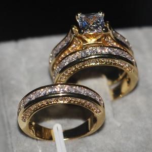 Image 2 - Vecalon Fashion 3 in 1 Women ring Princess cut 7mm AAAAA Zircon cz Yellow Gold 925 Sterling Silver wedding Band ring Set