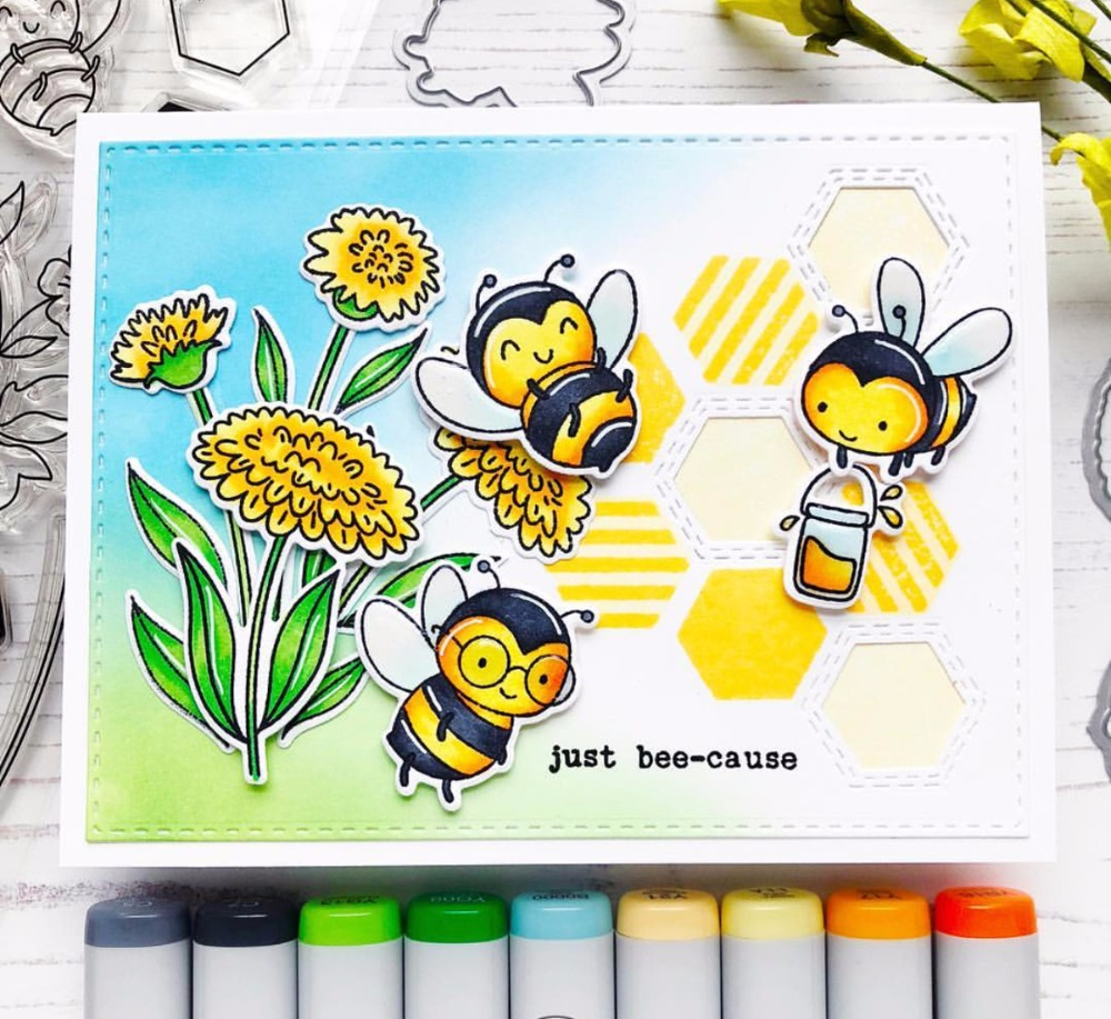 TPP Happy Little Bee Rubber Stamps/kids Clear Stamps Dies