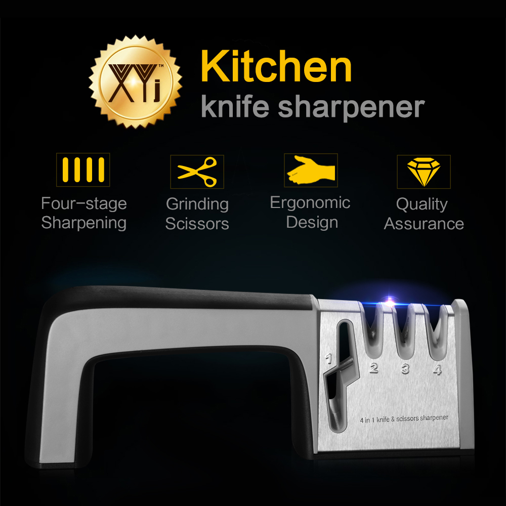 XYj Brand Precision Edge 4 Stages Sharp Kitchen Knife Sharpener Professional Diamond Coated& Fine Scissor Sharpening System Tool