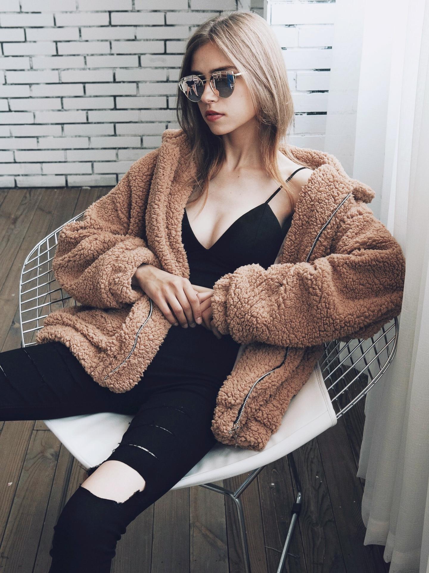 Zogaa Elegant Faux Fur Coat Women Autumn Winter Thick Warm Soft Fleece Jacket Pocket Zipper Outerwear Overcoat Bear Teddy Coat