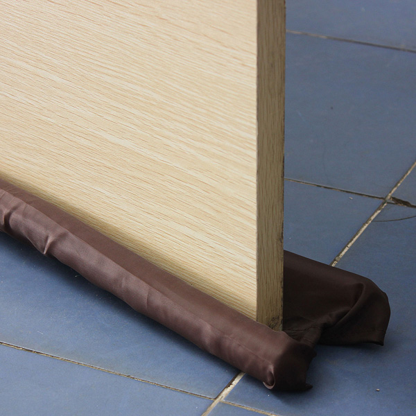 Hot Sale Brown Double Door Draft Stopper Dual Draught Excluder Air Insulator Windows Dodger Guard Energy Saving(China)