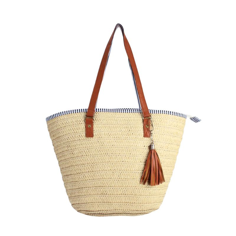 Fashion Summer Beach Straw Bag Top Handle Shoulder Bag Women Tote with Tassels 1
