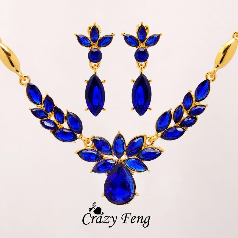 3 couleurs femmes couleur or fleur forme bijoux de fiançailles ensemble CZ cristal pendentif Collier boucles d'oreilles bijoux ensembles Collier Femme 2