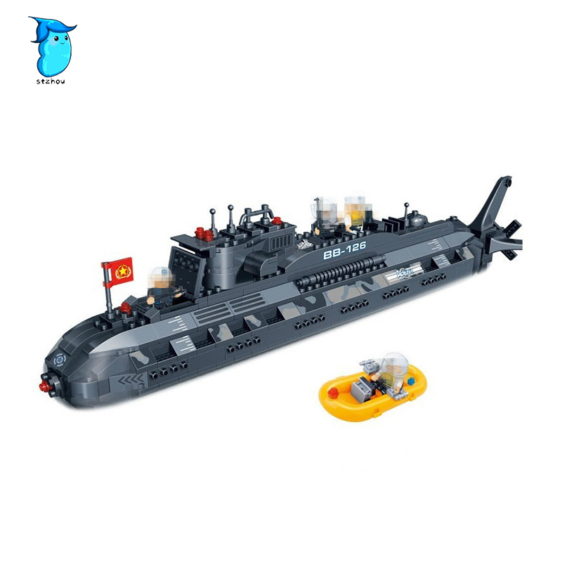 502pcs Model building kit compatible with legoe military submarine U-boat 3D blocks Educational model building toys for children 0367 sluban 678pcs city series international airport model building blocks enlighten figure toys for children compatible legoe