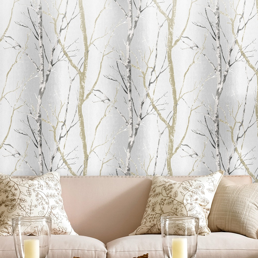 HaokHome Modern Birch Tree Wood Wallpaper non-woven Grey/Black/Tan 3d wall covering Living room Bedroom home Decoration modern vintage wood pattern striped non woven fiber wallpaper roll for 3d living room bedroom photo wall paper home decoration