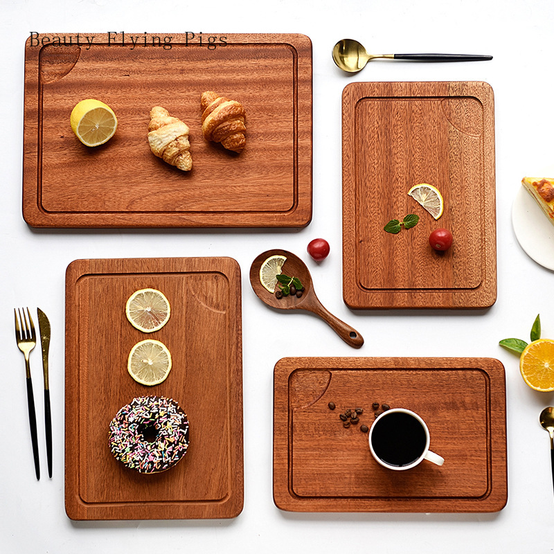 Solid wood tray Sapele steak plate rectangular pizza fruit snack plate home high-grade whole wood with sauce trough tray image