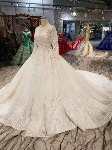 Image 3 - LSS486 vestidos de novia de alta calidad real tren largo cuello pico manga larga brillante vestido de novia 2020 nuevo diseño de moda