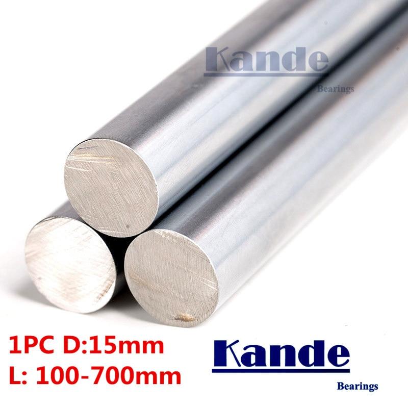 Kande Bearings 1pc d:15mm 100-600mm 3D printer rod shaft 15mm linear shaft chrome plated rod shaft CNC parts Kande Bearings 1pc d:15mm 100-600mm 3D printer rod shaft 15mm linear shaft chrome plated rod shaft CNC parts