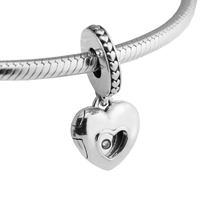 Pandulaso 2017 Club Charm With CZ Heart Pendant Loose Bead Original Sterling Silver Jewelry Fit European