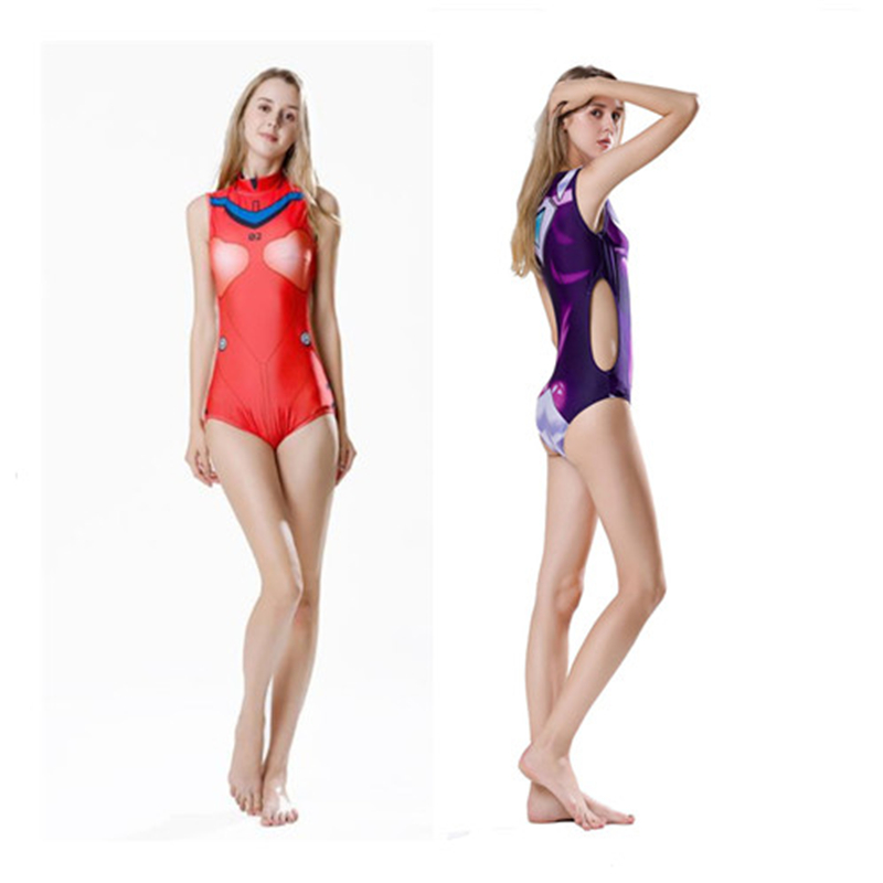 New Anime Game Japanese EVA Cosplay Costume Swimsuit Tankini Sukumizu Girl Swimwear Wetsuit Summer Beach Sexy zentai  Jumpsuits