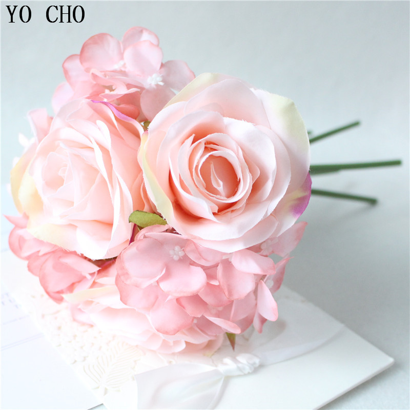 YO CHO Wedding Bouquet Roses Peonies Hydrangea Silk Flower Pink White Bridal Bridesmaid Bouquet For Mariage Wedding Accessories
