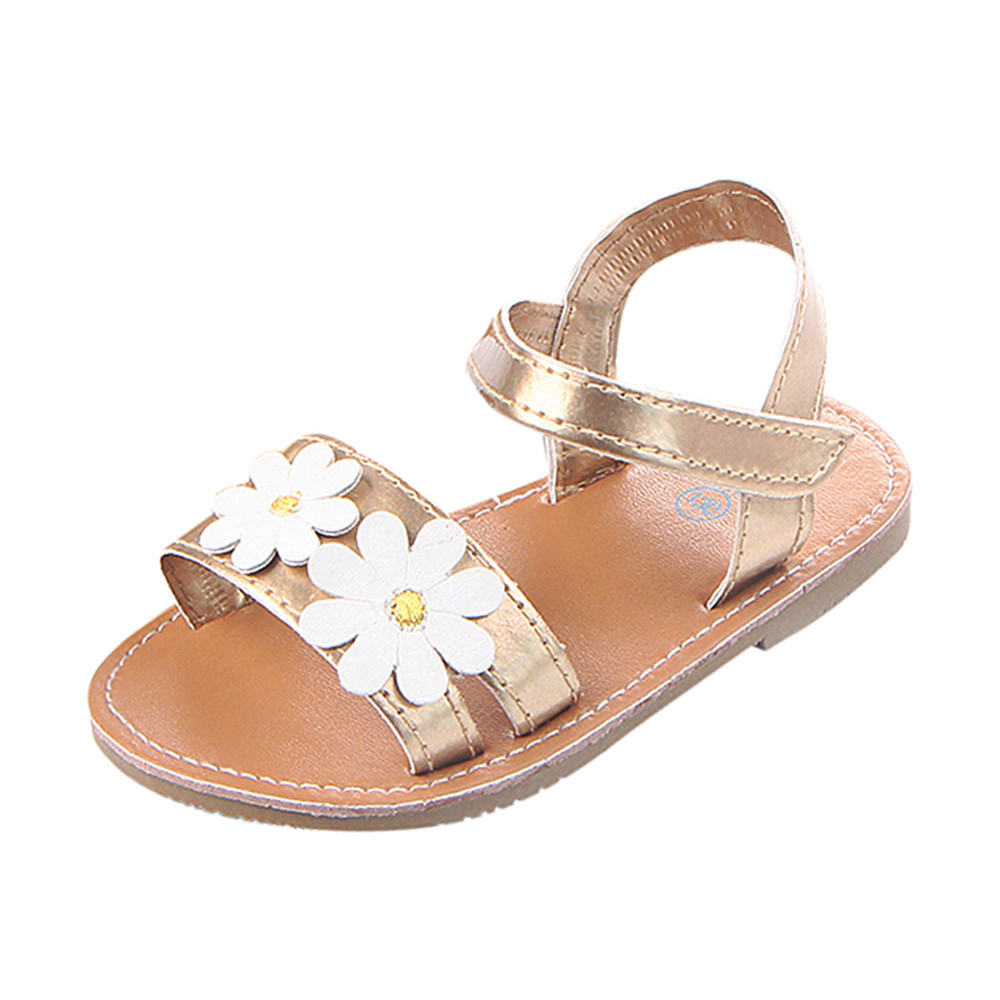 MUQGEW fashion newest style Girls Kids Casual Summer Beach Sandals Infant Floral Soft Soled Anti-Slip Shoes Leather Rubber