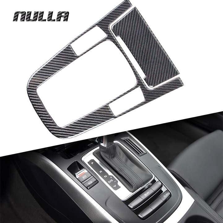 NULLA Carbon Fiber Gear Shift Panel Control Center Console Stall Decoration Cover Frame Trim Sticker for AUDI A4 A5 Q5 B8 Q3 A6