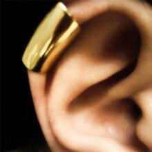Панк Простой стиль Ушная клипса хряща для женщин Серебряные серьги не пирсинг серьги-каффы 1 шт не пар