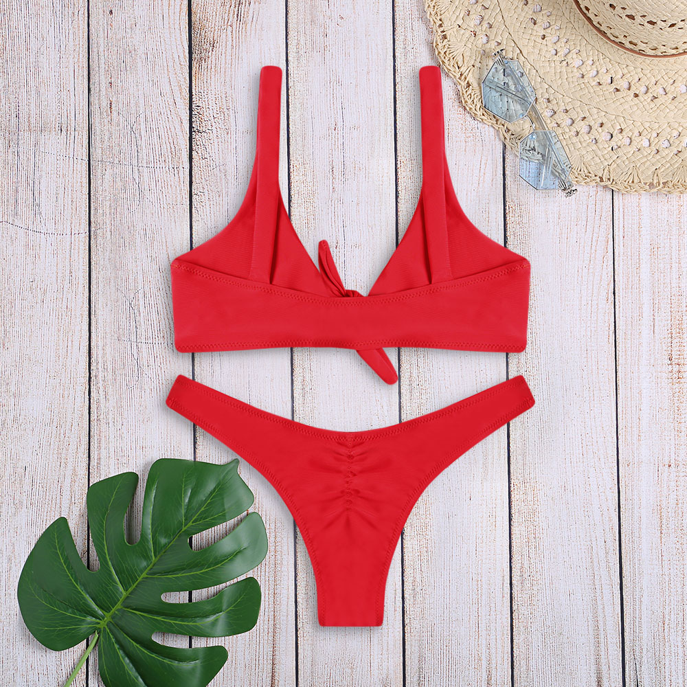 Women Sexy Bikini Set Swimwear Knotted Padded Thong Swimsuit Wire Free Scoop Neck Bathing Suit Swimming Suit 7 Colors