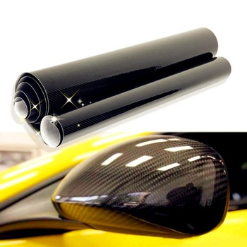 цена на 30*152cm DIY Car Sticker 5D Carbon High Glossy Film Vinyl Wrapping Auto Carbon Fiber Vinyl Film Fibra de Carbono Black