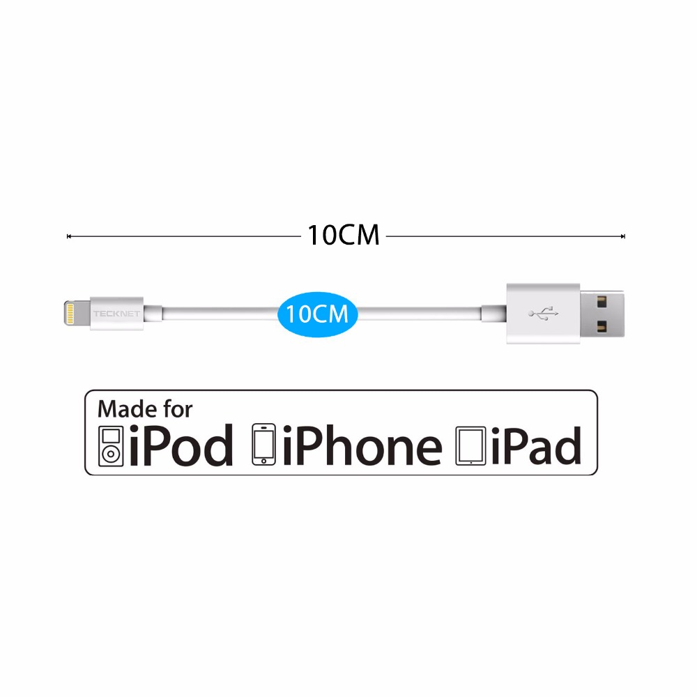 TECKNET USB Cable for iPhone 6 7 iPad iPod 2.1A Fast Mobile Phone Lightning to USB Charger Data Cable For MFi iPhone Cable 10 CM