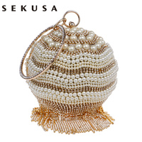 New Design Rhinestones Tassel Women Handbags With Handle Round Beaded Evening Bag Diamonds Pearl Day Clutches